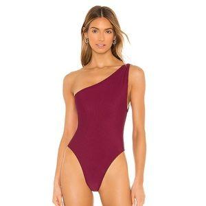 Love wave one shoulder swimsuit in russett